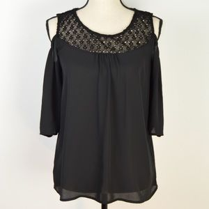 Cold Shoulder Semi Sheer Blouse | Size Small (6-8)
